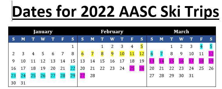 2022 Ski Trips Calendar